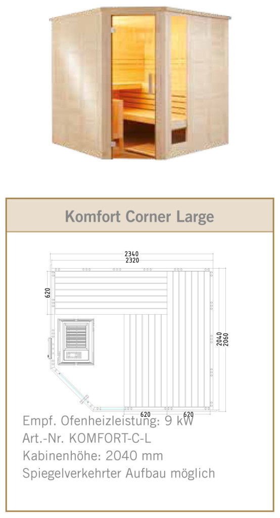 Sauna Standard Komfort Corner Large