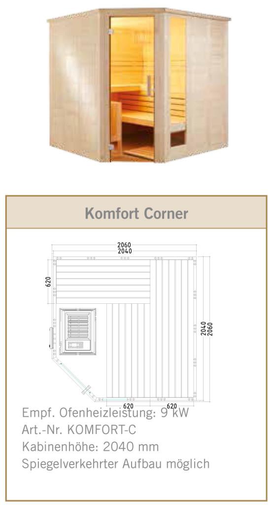 Standard-Sauna Komfort Corner